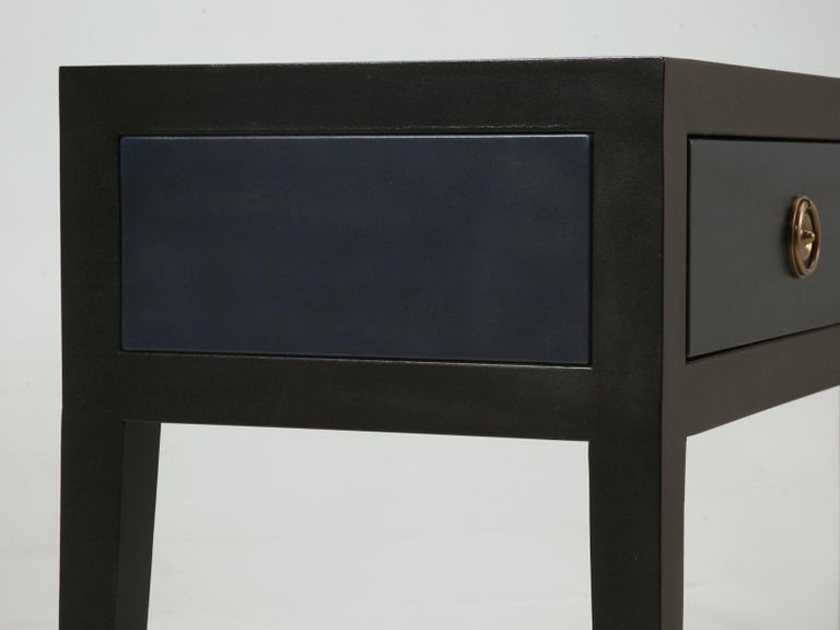 Pair of Console or Sofa Tables from the Old Plank Collection in Leather and Wood For Sale 1