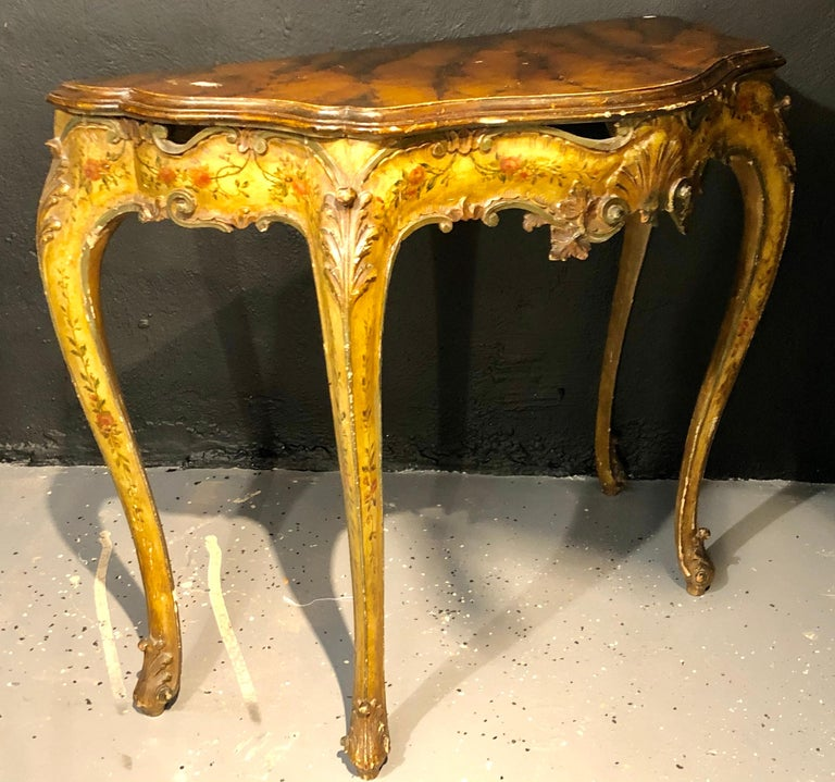 Louis XV Pair of Console / Sofa Tables Italian Paint Decorated Bases on Faux Marble Top For Sale