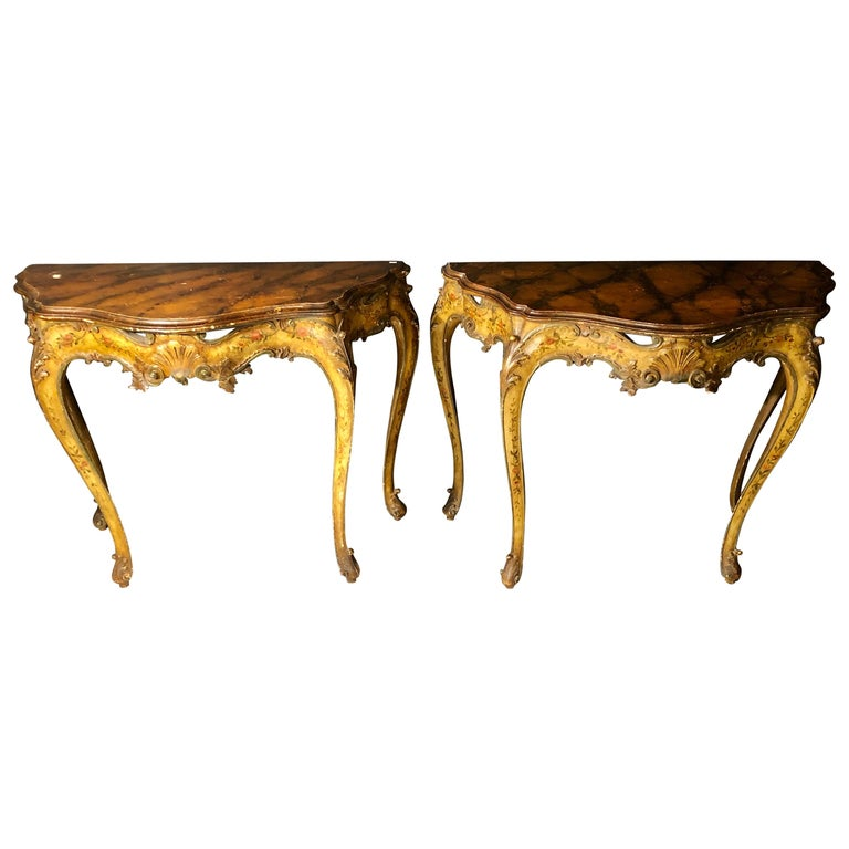 Pair of Console / Sofa Tables Italian Paint Decorated Bases on Faux Marble Top For Sale