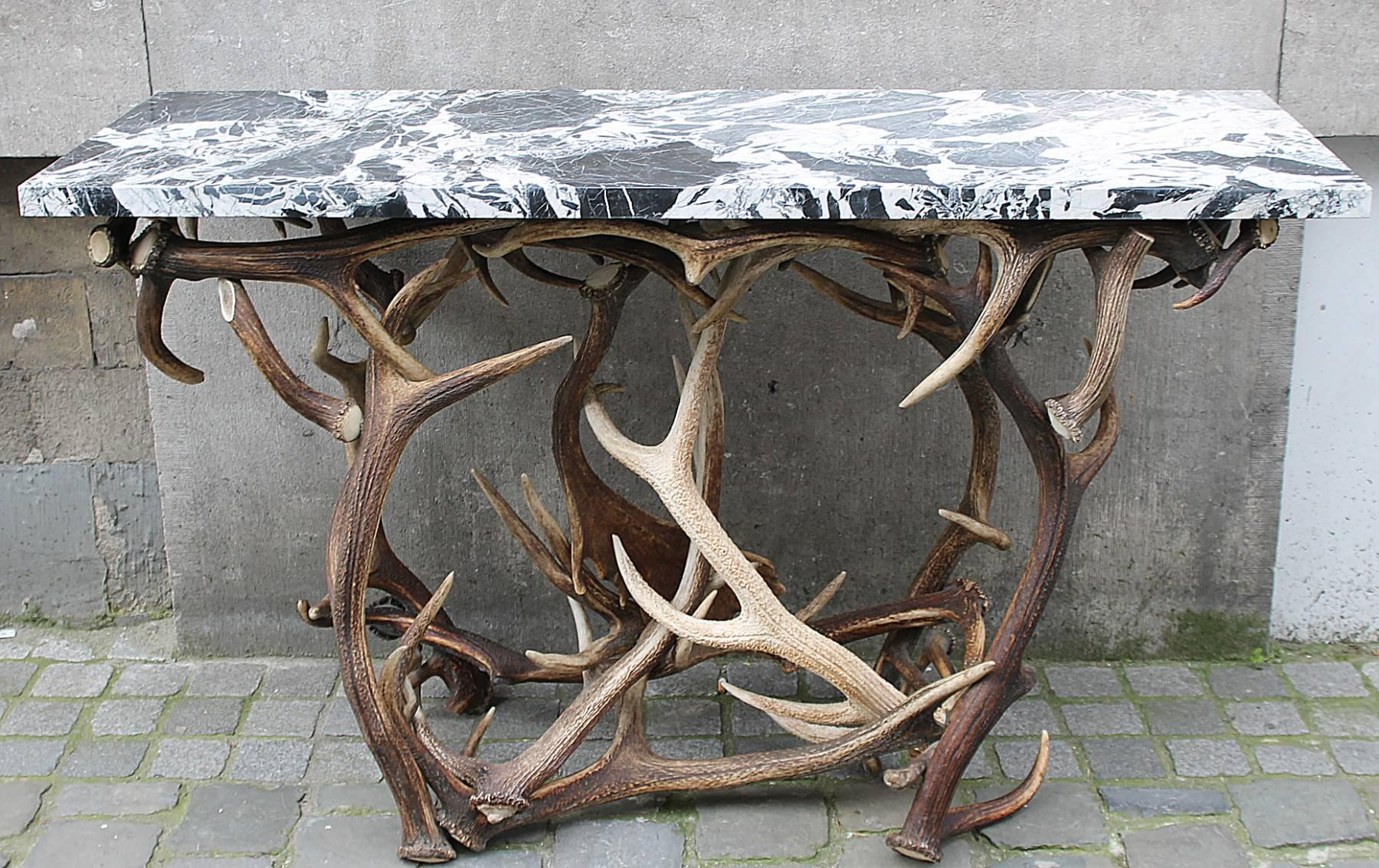 Superbe Pair Of Consoles In Deer Antler And Marble At 1stdibs