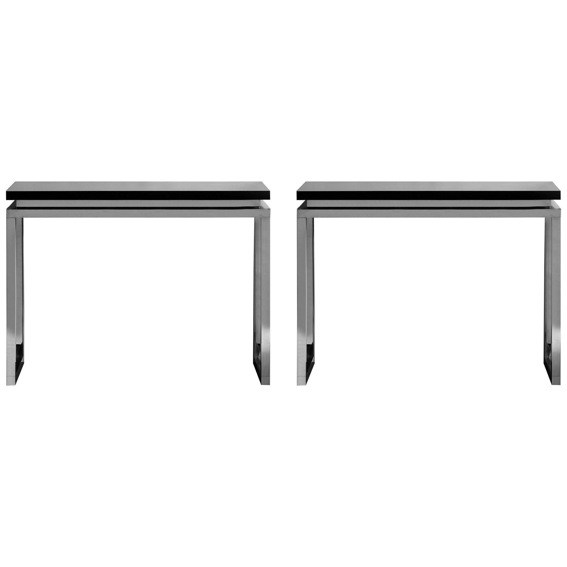 Pair of Steel Consoles by Studio Glustin at cost price.