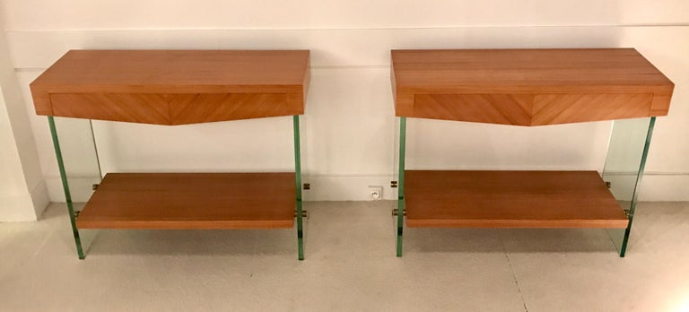 Pair of Consoles in Saint Gobain Glass and Wood Top, France, 1960 For Sale 7