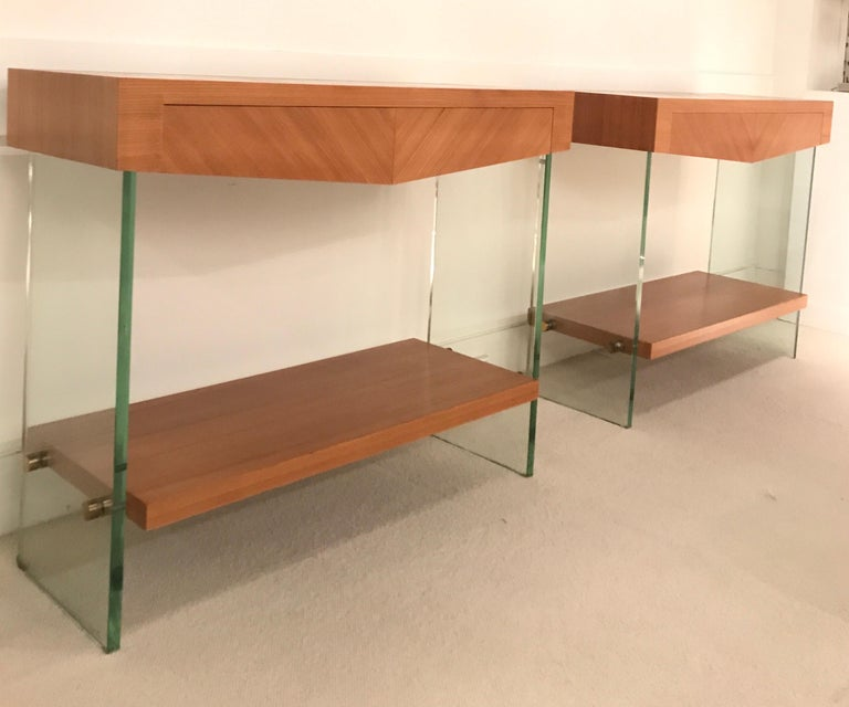 Pair of Consoles in Saint Gobain Glass and Wood Top, France, 1960 For Sale 12
