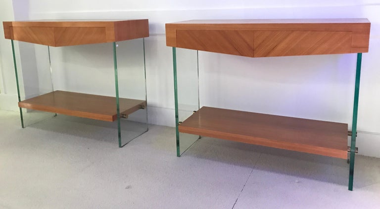 Mid-Century Modern Pair of Consoles in Saint Gobain Glass and Wood Top, France, 1960 For Sale