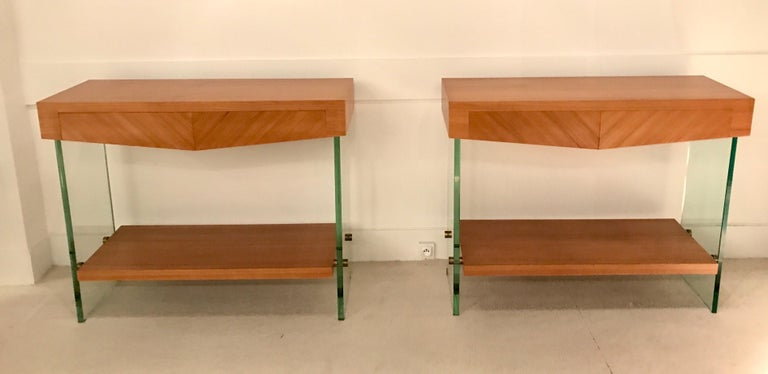 Pair of Consoles in Saint Gobain Glass and Wood Top, France, 1960 For Sale 13