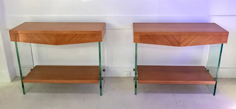 Pair of Consoles in Saint Gobain Glass and Wood Top, France, 1960 In Good Condition For Sale In Saint-Ouen, FR