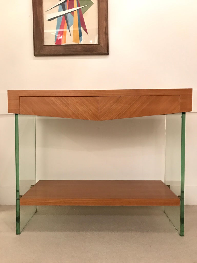 Pair of Consoles in Saint Gobain Glass and Wood Top, France, 1960 For Sale 1