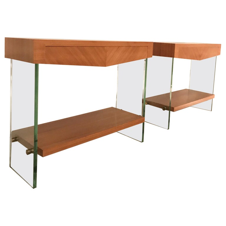 Pair of Consoles in Saint Gobain Glass and Wood Top, France, 1960 For Sale