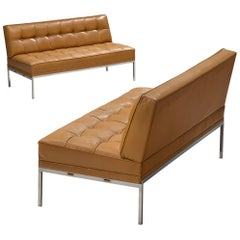 Pair of 'Constanze' Settees by Johannes Spalt in Cognac Leather