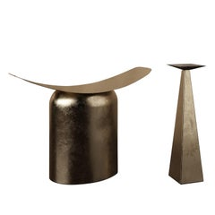 Pair of Contemporary Aged Brass Side Table and Stool by Pietro Franceschini