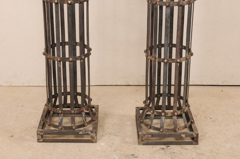 Pair of Contemporary American Iron Architectural Columns For Sale 4