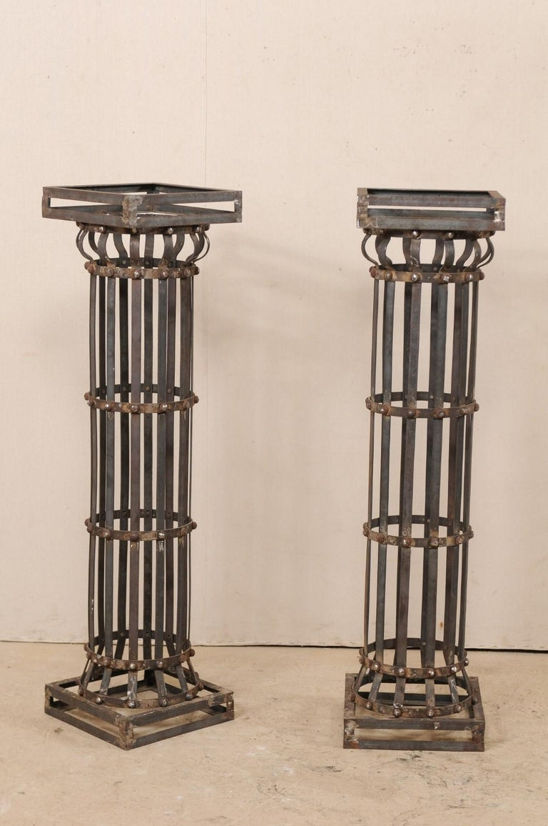 Patinated Pair of Contemporary American Iron Architectural Columns For Sale