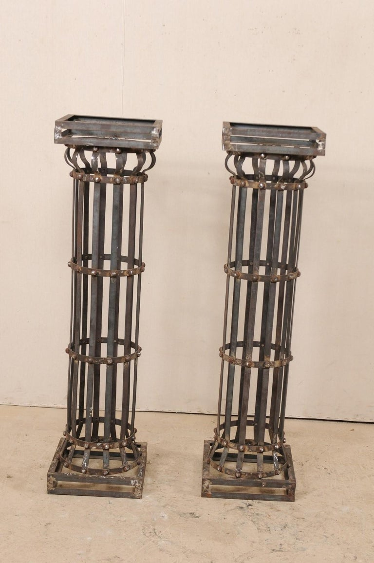 20th Century Pair of Contemporary American Iron Architectural Columns For Sale