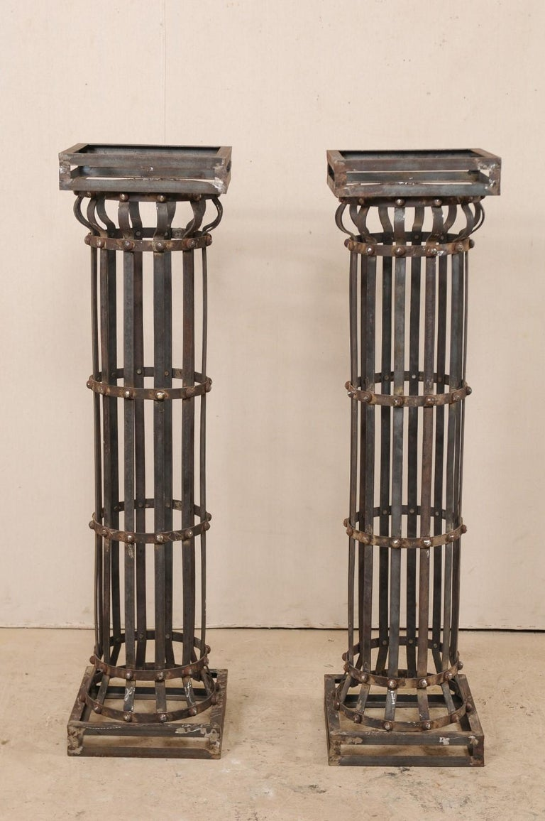 Metal Pair of Contemporary American Iron Architectural Columns For Sale