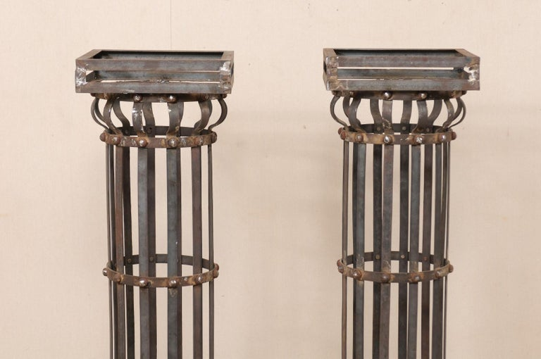 Pair of Contemporary American Iron Architectural Columns For Sale 1