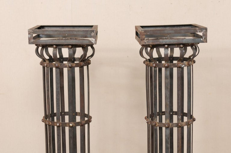 Pair of Contemporary American Iron Architectural Columns For Sale 2