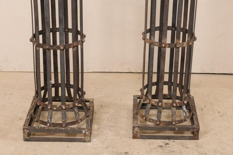 Pair of Contemporary American Iron Architectural Columns For Sale 3