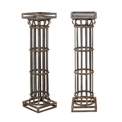 Pair of Contemporary American Iron Architectural Columns