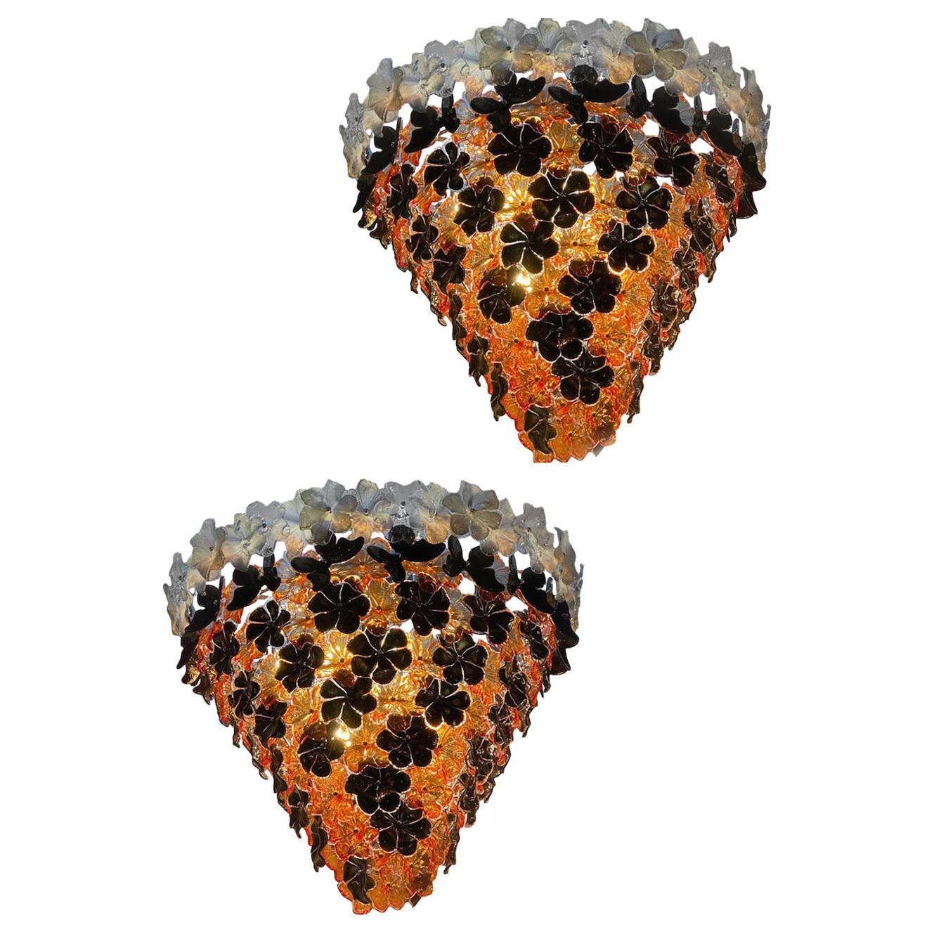 Pair of Contemporary Black and Orange Flower Stunning Murano Glass Chandelier