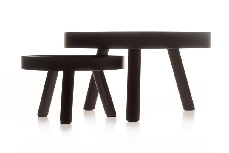 American Pair of Contemporary Black Serving Trays Decorative Sculpture, in Stock For Sale