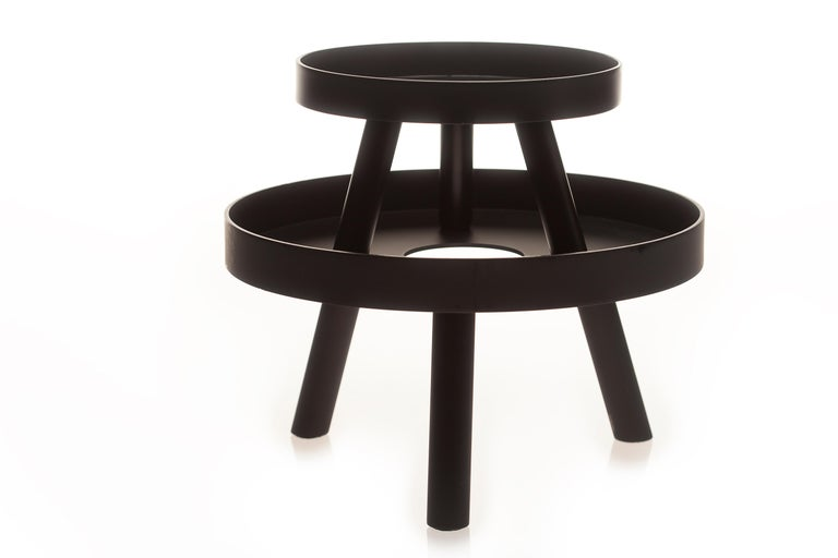 Powder-Coated Pair of Contemporary Black Serving Trays Decorative Sculpture, in Stock For Sale