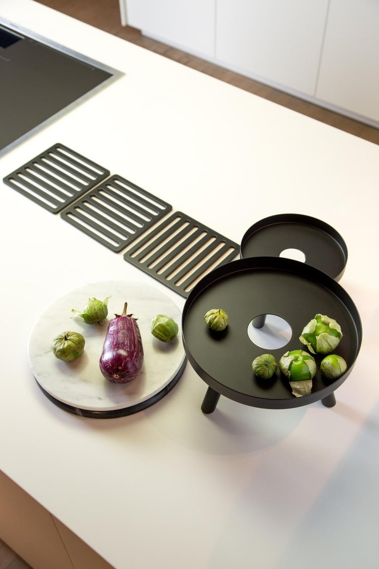 Steel Pair of Contemporary Black Serving Trays Decorative Sculpture, in Stock For Sale
