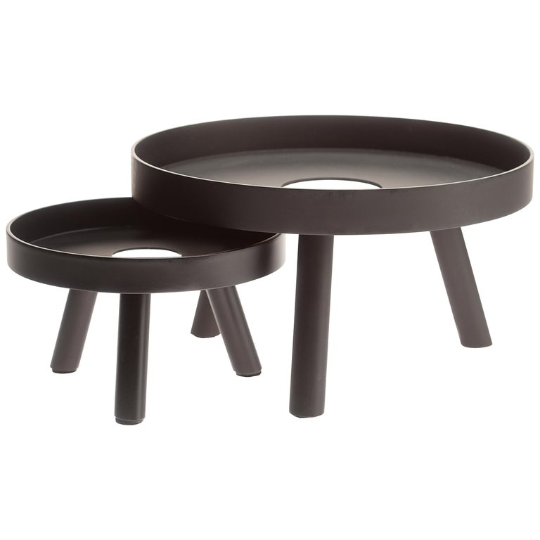 Pair of Contemporary Black Serving Trays Decorative Sculpture, in Stock For Sale