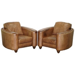 Pair of Contemporary Brown Leather Art Deco Style Club Armchairs Part of Suite