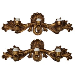 Pair of Contemporary Cast Bronze and Gilded Wall Sconces