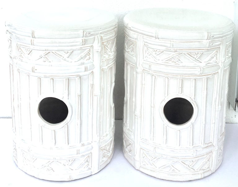 Hollywood Regency 21st Century Pair Of Ceramic Glaze Faux Bamboo Garden Stools For Sale