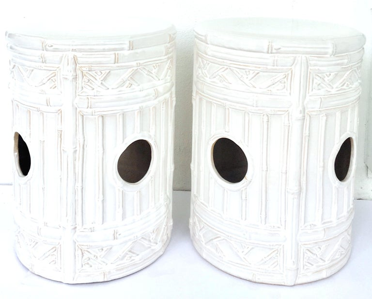 Chinese 21st Century Pair Of Ceramic Glaze Faux Bamboo Garden Stools For Sale