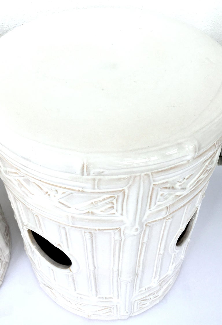21st Century Pair Of Ceramic Glaze Faux Bamboo Garden Stools In Good Condition For Sale In West Palm Beach, FL