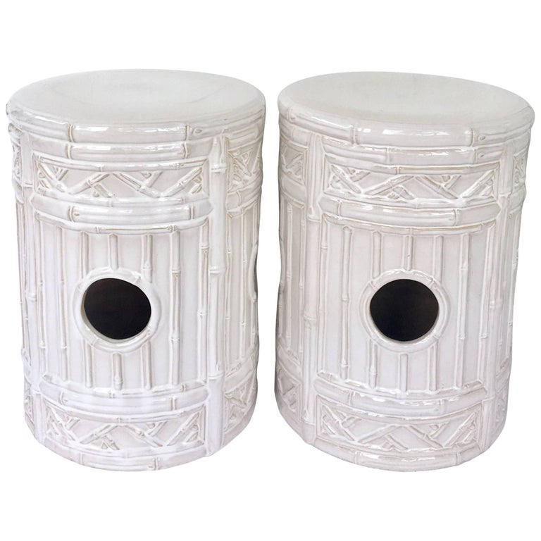 21st Century Pair Of Ceramic Glaze Faux Bamboo Garden Stools For Sale