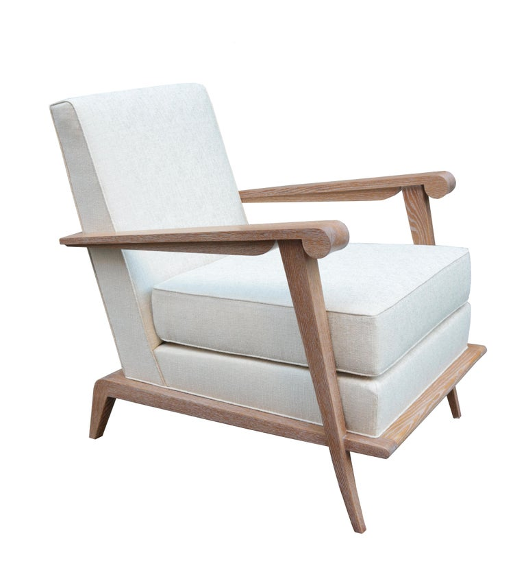 Pair of contemporary modernist style armchairs.  Cerused oak.