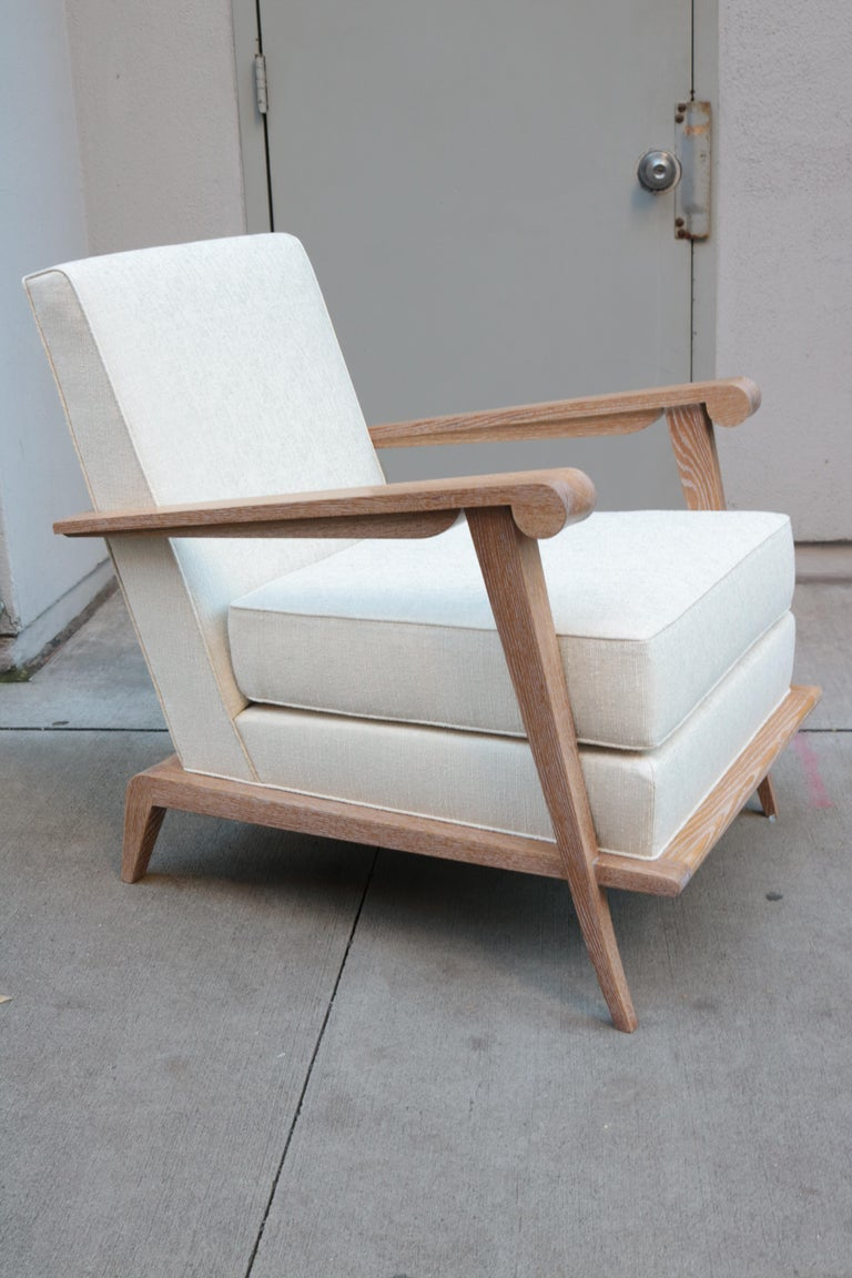 Modern Pair of Contemporary Cerused Oak Armchairs For Sale