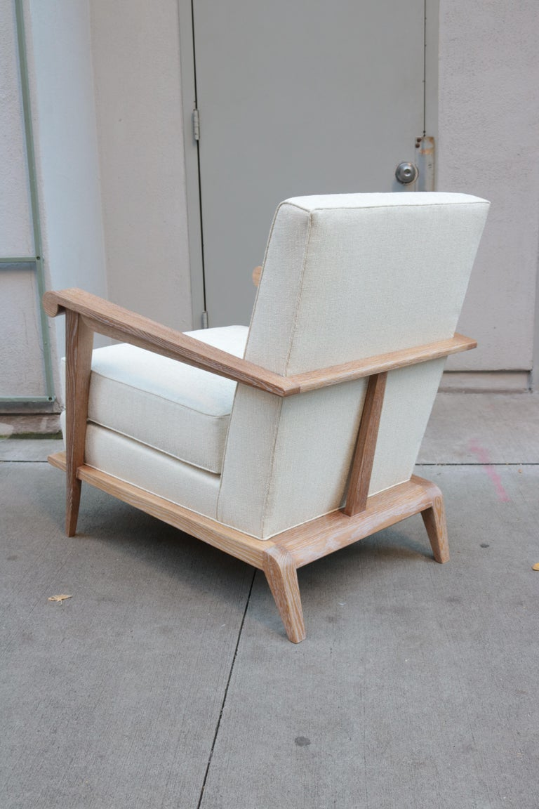 German Pair of Contemporary Cerused Oak Armchairs For Sale