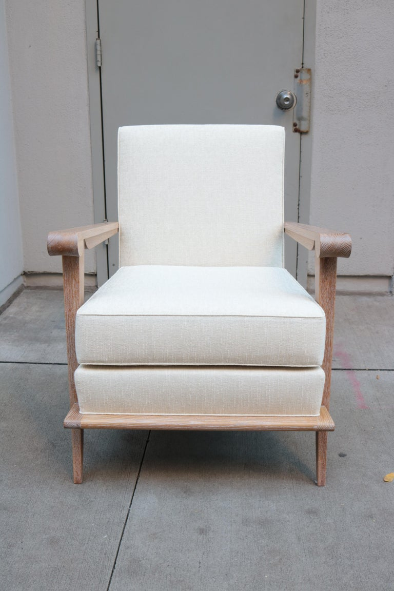 Pair of Contemporary Cerused Oak Armchairs In Good Condition For Sale In New York, NY