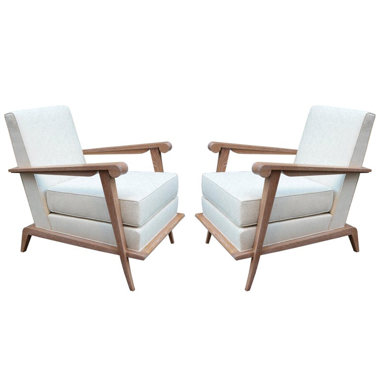 Pair of Contemporary Cerused Oak Armchairs For Sale