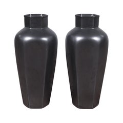 Pair of Contemporary Chinese Cobalt Grey Tapering Vases with Hexagonal Necks