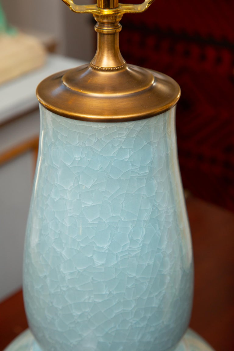 Other Pair of Contemporary Chinese Dark Celadon Vases as Table Lamps For Sale