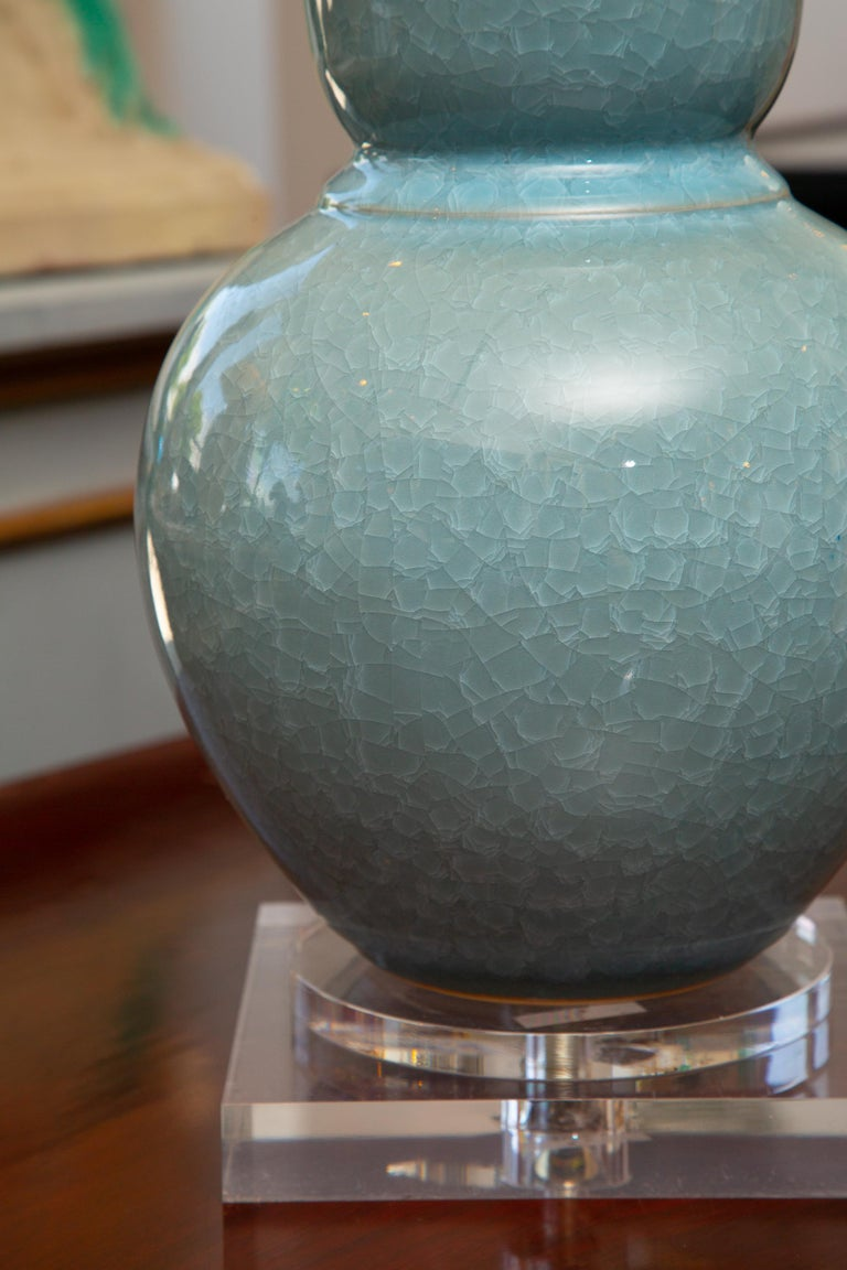 20th Century Pair of Contemporary Chinese Dark Celadon Vases as Table Lamps For Sale