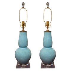 Pair of Contemporary Chinese Dark Celadon Vases as Table Lamps
