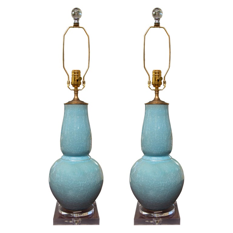 Pair of Contemporary Chinese Dark Celadon Vases as Table Lamps For Sale