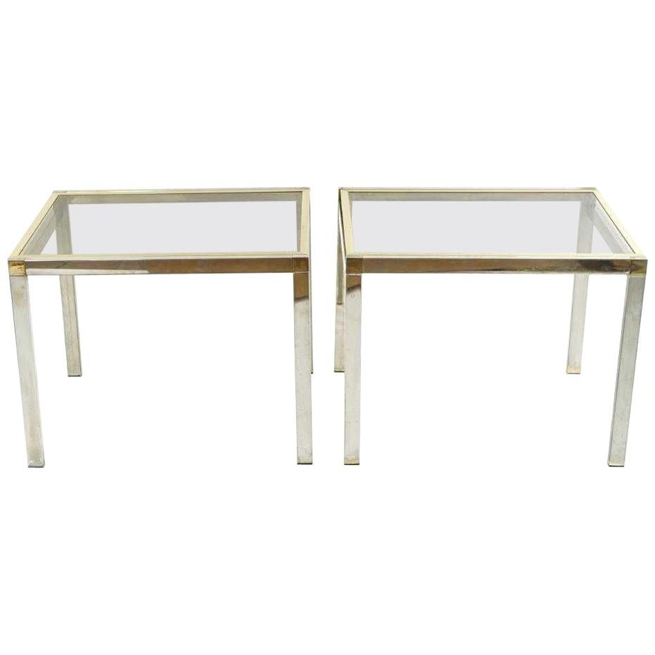 Pair of Contemporary Chrome and Brass End Tables