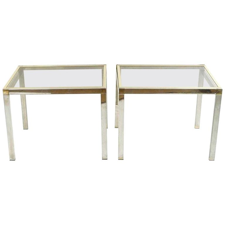 Pair of Contemporary Chrome and Brass End Tables For Sale