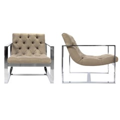 Pair of Contemporary Chrome Armchairs in Taupe Tufted Upholstery