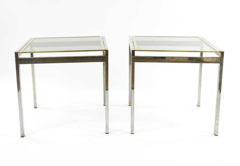 Mid-Century Modern Pair of Contemporary Chrome and Brass End Tables For Sale