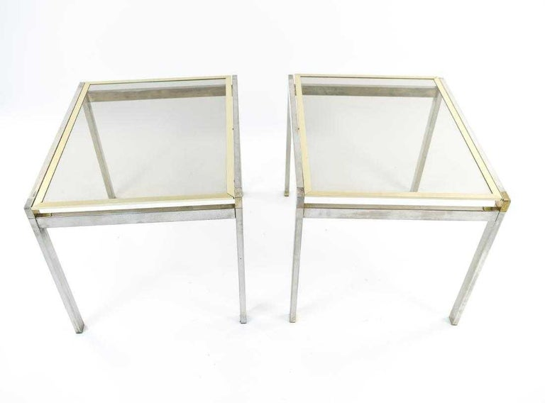 American Pair of Contemporary Chrome and Brass End Tables For Sale