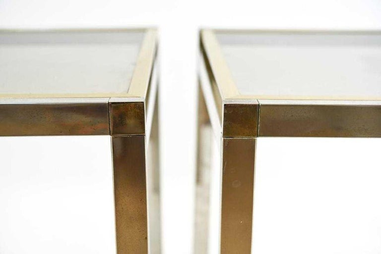 Pair of Contemporary Chrome and Brass End Tables For Sale 1