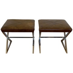 Pair of Contemporary Chrome and Brown Leather Benches
